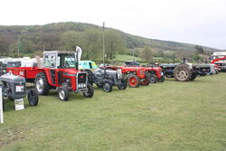 Tractors line up at Bakewell SS 2010 - IMG 0594