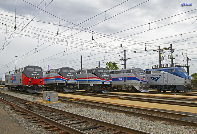 File:All 4 Amtrak Heritage Units (With standard P42 with current scheme).jpg
