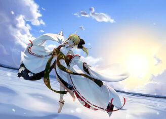 Konachan-com-125970-barefoot-blonde hair-clouds-fate stay night-green eyes-japanese clothes-namonashi-saber-snow