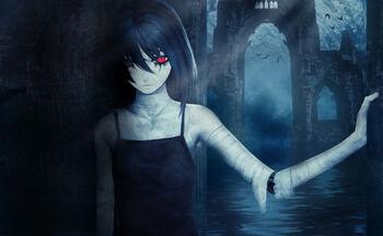Konachan.com - 73070 bicolored eyes black eyes black hair gothic long hair original red eyes water