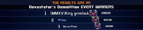 Event Devastators Demolition League Winner