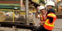 This is daniel cook building a sidewalk