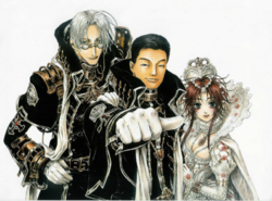 Sunao with Trinity Blood characters