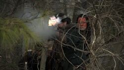Robert Rogers shoots at Caleb Brewster