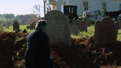 Richard Woodhull at Rebecca Woodhull's gravesite
