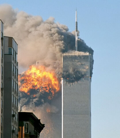 File:North face south tower after plane strike 9-11-1-.jpg