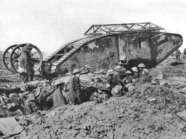 File:British Mark I male tank Somme 25 September 1916.jpg