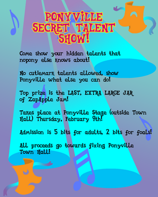 Mlpfim ponyville talent show flyer by the gneech-d4op0sp