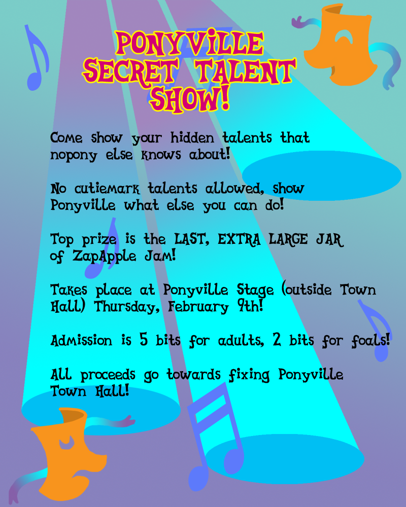 Image Mlpfim ponyville talent show flyer by the gneechd4op0sp – Talent Show Flyer