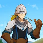 Keiren with his helmet up