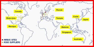 Sites et fournisseurs AIRBUS