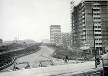 Nechells Parkway A47 - View south to Town, KelletRd Est on right. Nechells Green, Birmingham.