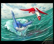 Latios-latias-fanart-ocean-flight-by-themerce-deviantart-wallpaper