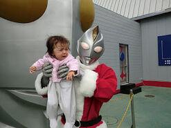 12-4-11 Ultraman Land W Amane with Santa