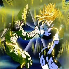 Perfect Cell fighting Ultra Super Saiyan Trunks