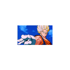 Vegito, just after performing a beam sword attack