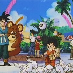 4 year old Pan feeds birds at the tournament in DBZ.