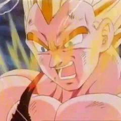Vegeta powers up against Omega Shenron.