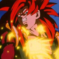 Gogeta taking Omega Shenron's attack head on