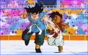 Uub and Goku fight