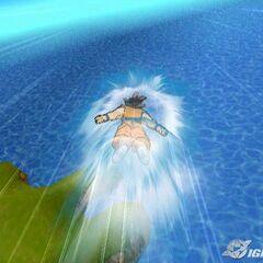 Goku flying over water