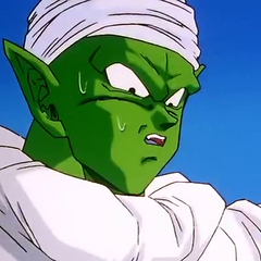Piccolo at Kami's Lookout with his cape and turban.