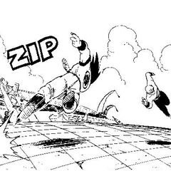 Tien Dashing at Goku