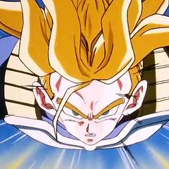 Super Saiyan Future Trunks following Vegeta