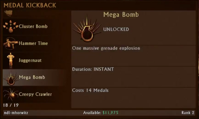Mega Bomb Selection Menu