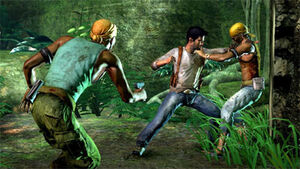 Nathan Drake fights Eddy Raja's pirates