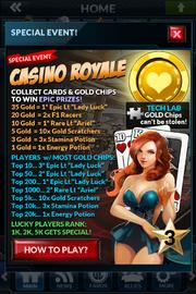 Event casino royale rewards