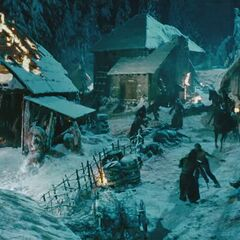The battle in the mountain village.