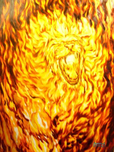 Flames of a lion roaring risin by ZenArt7