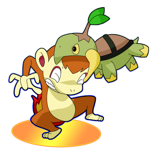 File:Turtwig and Chimchar Colored by nagel.png