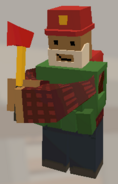 Player wearing Firefighter Helmet and holding Fire Axe