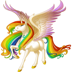 Unicorn With Wings And Rainbow Horse | 2048