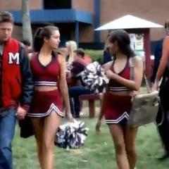 Quarterback Matt Donovan & cheerleaders Elena Gilbert and Bonnie Bennett in their sophomore year