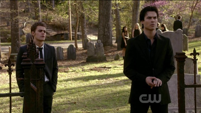 File:The Sun Also Rises ~ Stefan and Damon in Cemetery.png