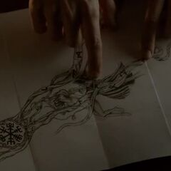 The tattoo reveals a spell to open the tomb, or something like this...