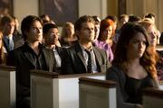 Damon and Stefan at the memorial