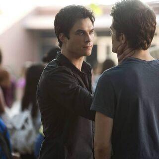 Damon trying to choke Silas