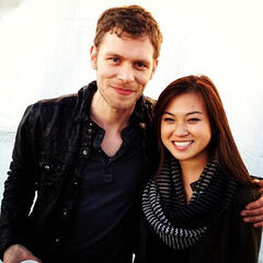 Joseph Morgan as Klaus on set with fan