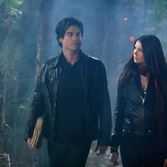 Elena and Damon walking.