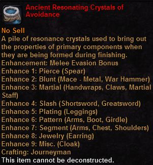 Ancient resonating crystals avoidance
