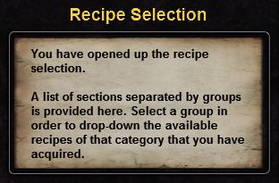 Hint recipe selection
