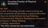Focusing powder physical resistance
