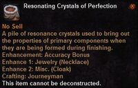 Resonating crystals perfection