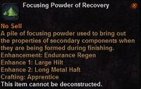 Focusing powder recovery