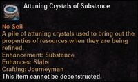 Attuning crystals substance