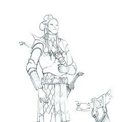 Эльфийский воин, эскиз